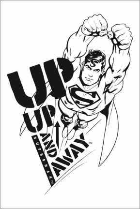 Wandsticker  Superman - Up and away