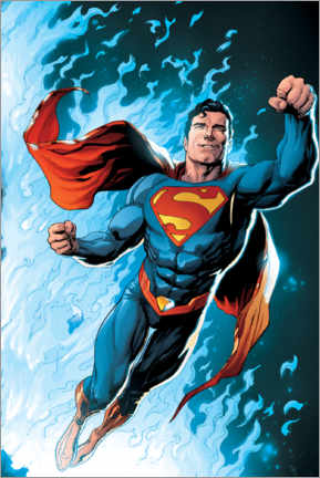 Premium-Poster Superman - Blaue Flamme