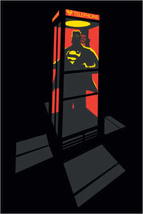 Premium-Poster  Superman Phone Booth - red