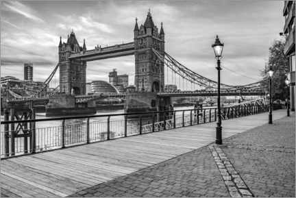Alubild  Tower Bridge in London, schwarz-Weiß - Matthew Williams-Ellis