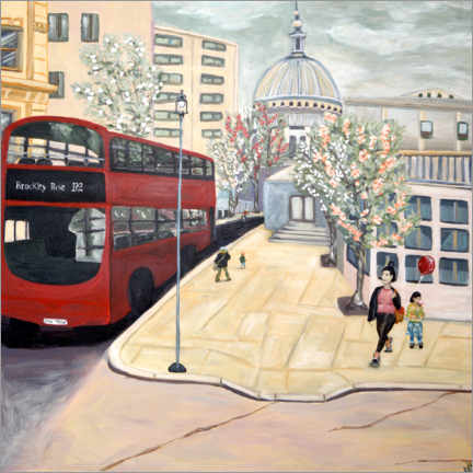 Hartschaumbild  Roter Bus London - Deborah Eve Alastra