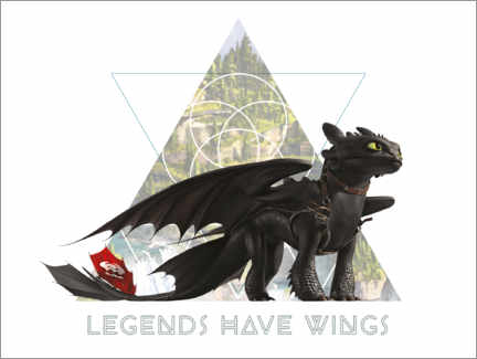 Holzbild  Legends have wings - Toothless