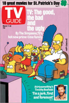 Hartschaumbild  THE SIMPSONS - Bart, Lisa, Maggie, Marge and Homer - TV Guide
