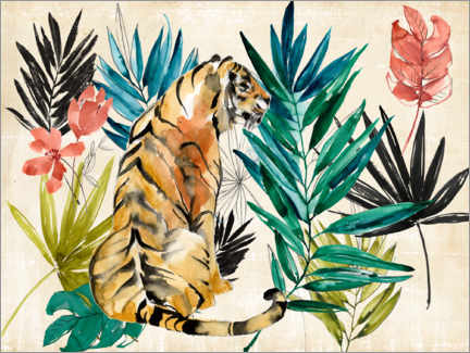 Premium-Poster  Tiger unter Palmen - Jennifer Goldberger