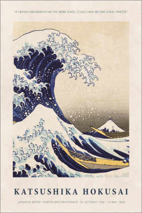 Hartschaumbild  Hokusai - Five more years - Museum Art Edition