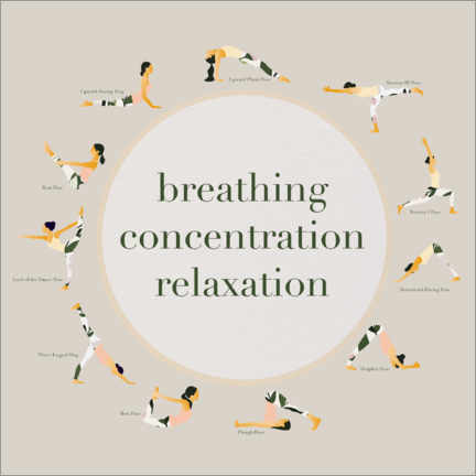 Premium-Poster  Yoga - breathing concentration relaxation