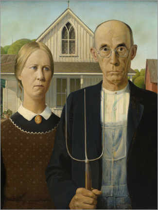 Holzbild  American Gothic - Grant Wood