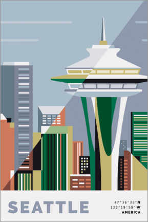Premium-Poster  Space Needle Seattle - Nigel Sandor