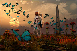 Mark Stevenson - A astronaut is greeted by a swarm of butterflies on an alien world.