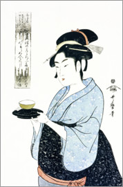 Kitagawa Utamaro - A half length portrait of Naniwaya Okita, depicting the famous teahouse waitress serving a cup of te