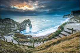 John Alexander - A winter sunset at Durdle Door on the Jurassic Coast, UNESCO World Heritage Site, Dorset, England, U
