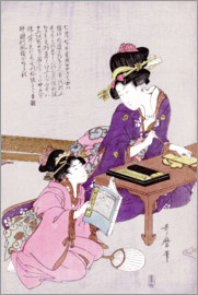 Kitagawa Utamaro - A young woman seated at a desk, writing, a girl with a book looks on