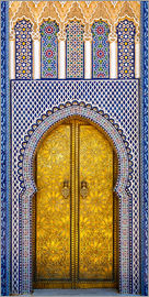 Brenda Tharp - Africa, Morocco, Fes. Detail of the King's Palace ornate doors.
