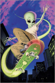 Alien Invasion - Alien Skateboarder