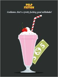 Golden Planet Prints - Alternative pulp fiction mia wallace milkshake