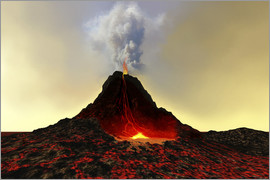 Corey Ford - An active volcano spews out hot red lava and smoke.