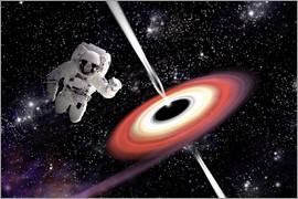 Marc Ward - Artist's concept of an astronaut falling towards a black hole in outer space.