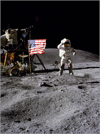 Astronaut of the 10th manned mission Apollo 16 on the moon