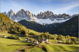 Click Alps - Autumnal landscape with Odle Dolomites peaks on the background, Santa Maddalena, Funes, Bolzano, Tre