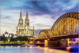 Lighted Cathedral in Cologne with Rhine and Bridge