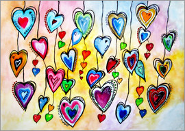 siegfried2838 - Vibrant Colorful Hearts Painting Abstract