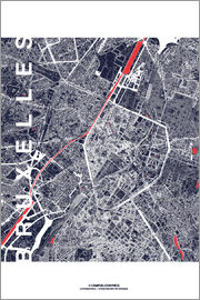 campus graphics - Brussels map city midnight