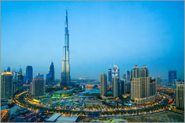 Fraser Hall - Burj Khalifa and Downtown Dubai at dusk, Dubai, United Arab Emirates, Middle East