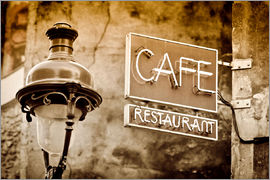 Russ Bishop - Cafe sign and lamp post, Paris, France