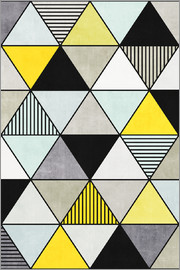 Zoltan Ratko - Colorful Concrete Triangles 2 Yellow Blue Grey