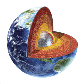 Leonello Calvetti - Cross section of planet Earth showing the inner core.