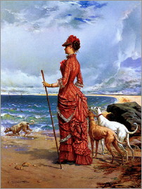 Edmond-Louis Dupain - Dame mit Windhunden am Strand
