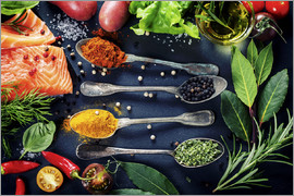 TPP - Delicious portion of fresh salmon fillet with aromatic herbs, spices and vegetables - healthy food,