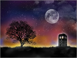 Golden Planet Prints - Doctor who tardis night sky tv serie inspired art
