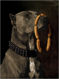 Wilhelm Trübner - Mastiff with sausages