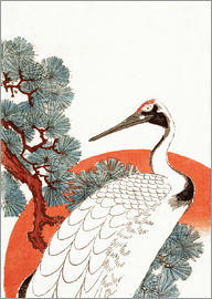Utagawa Hiroshige - First sunrise of the New Year, with a crane in a pine tree