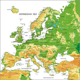 Europe - Topographic Map