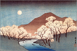 Utagawa Hiroshige - River landscape with rising moon