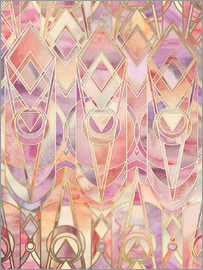 Micklyn Le Feuvre - Glowing Coral and Amethyst Art Deco Pattern