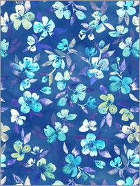 Micklyn Le Feuvre - Grown Up Betty - blau Aquarell Blumen