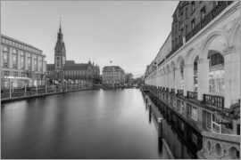 Michael Valjak - Hamburg Alsterarkaden and city hall black-and-white