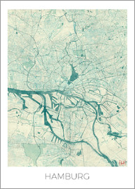 Hubert Roguski - Hamburg, Germany Map Blue