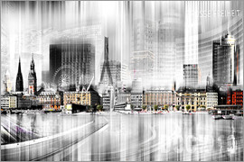 Städtecollagen - Hamburg Skyline SW Abstrakte Collage