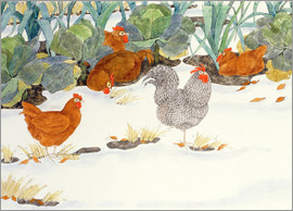 Linda Benton - Hens in the Vegetable Patch