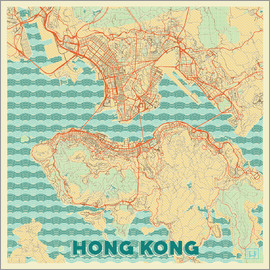 Hubert Roguski - Hong Kong Karte Retro