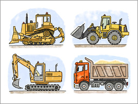 Hugos Illustrations - Hugos construction site set of 4