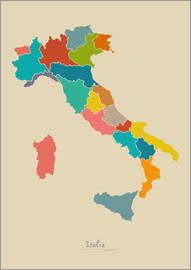 Ingo Menhard - Italien Landkarte Modern Map Artwork Design