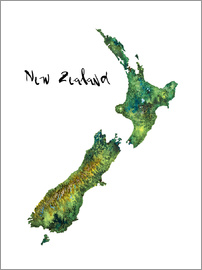 Ricardo Bouman - Map of New Zealand in Watercolour