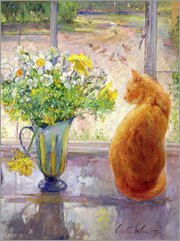 Timothy Easton - Cat with Flowers in the window