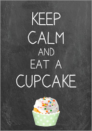 GreenNest - Keep calm and eat a cupcake auf Tafel Hintergrund