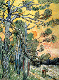 Vincent van Gogh - Pines with Setting Sun and Woman